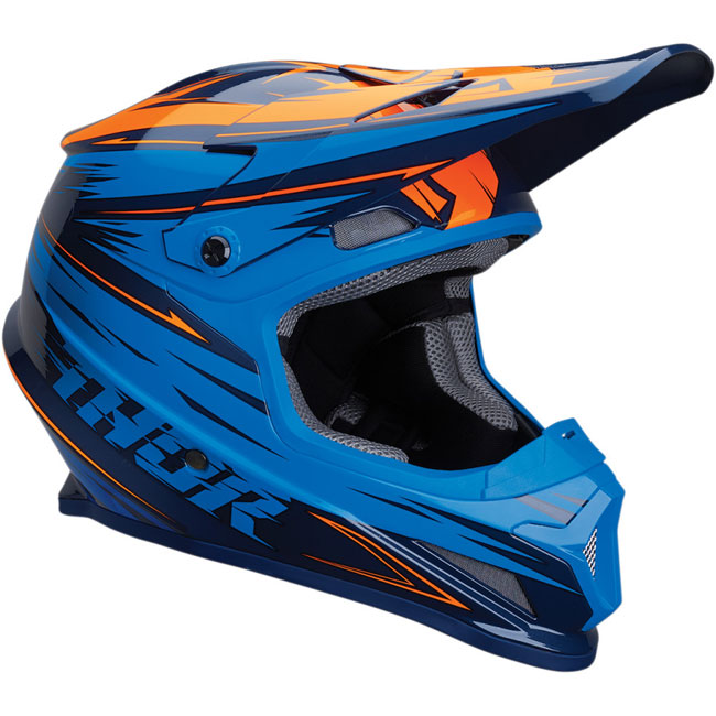CASQUE THOR MX Sector Warp Bleu/Orange